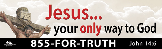 """""""Jesus Your Only Way to God"""" billboard message"""